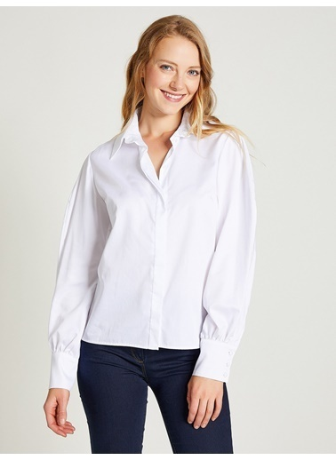 Vekem-Limited Edition Dik Yaka Geniş Manşetli Gömlek Beyaz